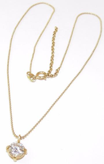 Colar + Pingente Cristal Folheado A Ouro 18k 0,8x0,8cm