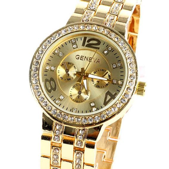 Relógio Feminino Dourado Com Strass Luxo Importado