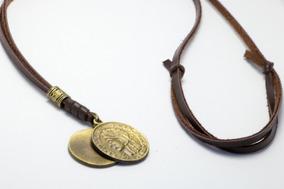 Cordão Medalha Couro