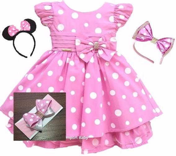 Vestido Infantil Minnie Rosa Luxo E 3 Tiaras Frete Gratis