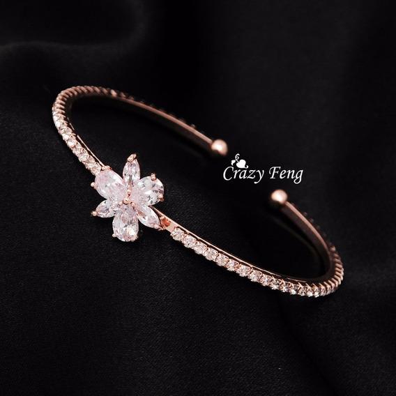 Pulseira Bracelete Feminino Zircônia Cubica Banhada A Ouro