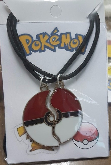 Kit Colar Cordão Pokemon Go Pokebola Best Friends Namorados