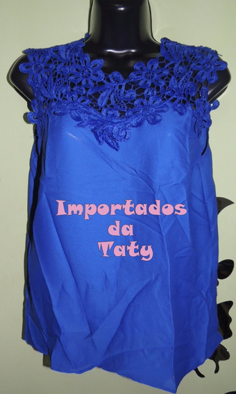 Blusa Camiseta Azul Com Renda Guipir - Importada