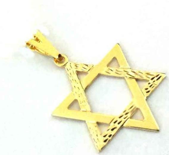 Pingente Estrela De Davi Hexagrama Folheado Ouro 18k