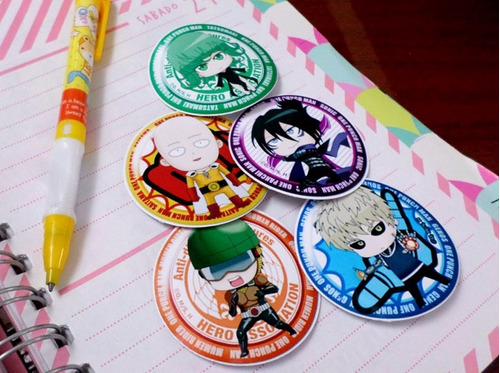 Set De 5 Stickers Circulares De Anime - One Punch Man