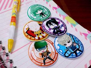 Set De 5 Stickers Circulares De Anime - One Punch Man