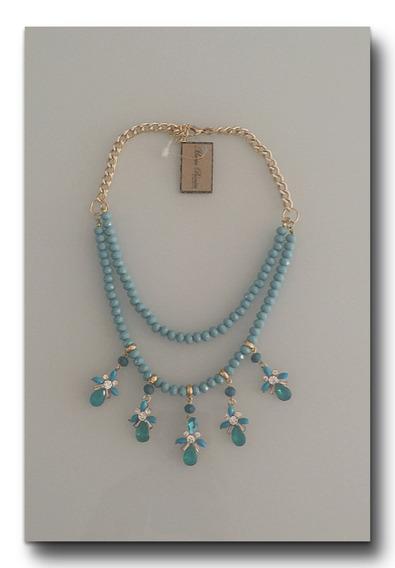 Colar De Cristal Azul E Pingentes Exclusivo Maria Bonita Ace