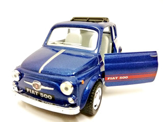 Miniatura Fiat 500 Antigo Teto Solar Azul Esc. 1:24 Kinsmart