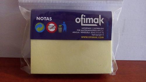 Tacos Adhesivos Amarillos 37.5 Mm X 50mm Papel Autoadhesivo