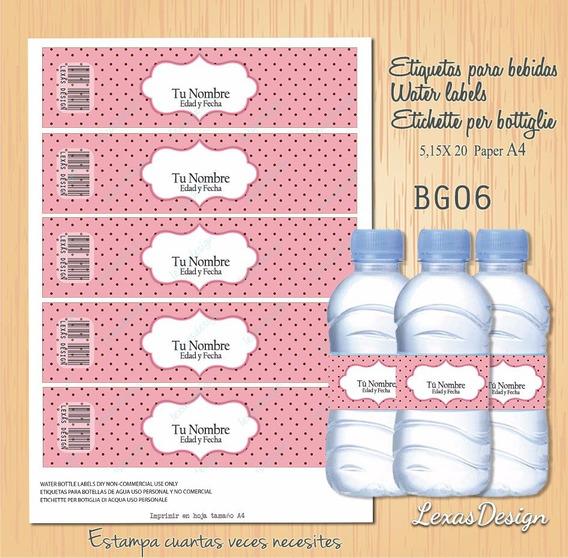Etiquetas Botellas Bebidas Marron Y Rosa Candy Bar, Pdf Bg06