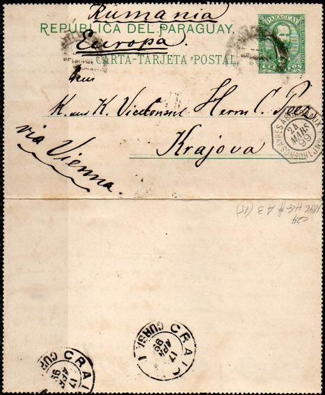 Paraguay 1899. Carta Tarjeta Postal De Asunción A Krajova