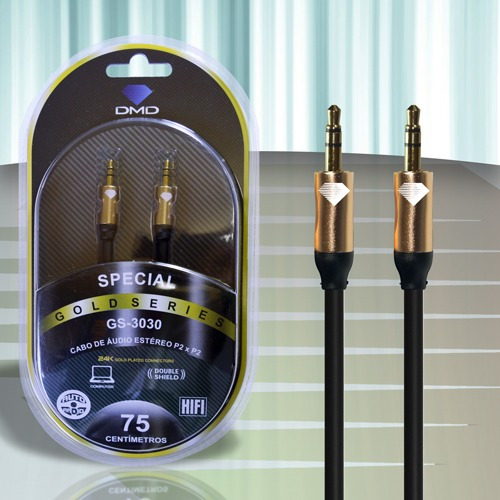 Cabo P2 Stereo Gold Series Dmd Gs-3030 0,75 Metros - 5330
