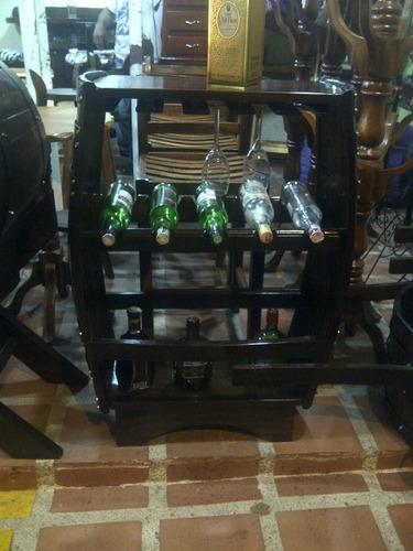 Bar Licorera Porta Botellas Copero Madera  Barril O Barrica
