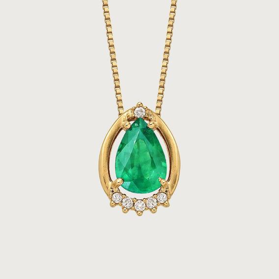 Gargantilha Em Ouro 18k Com Esmeralda E Diamantes