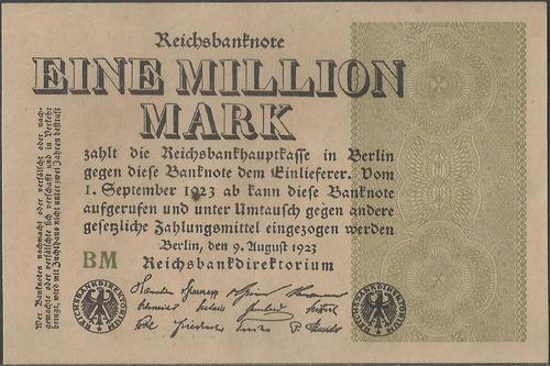 Alemania 1000000 Mark 9 Ago 1923 P102c