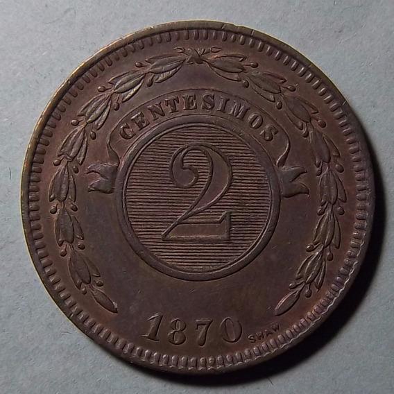 Paraguay 2 Centesimos 1870 Excelente Km 3 De Lujo!!