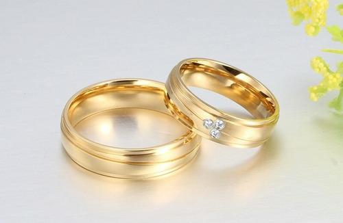 Imagen 1 de 3 de Anillos Matrimonio Oro 18k Cristal Diseño Amor Bods Ropa