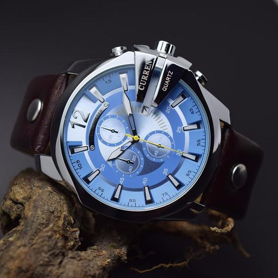 Relogio Curren Masculino Luxo Lançamento Prata/azul Bd1522