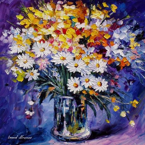 Poster Para Fazer Quadro 50x50cm Flores Coloridas - Quarto