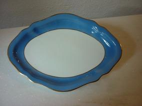 Porcelana Mauá Travessa Azul E Branco Borda Ouro Anos 50
