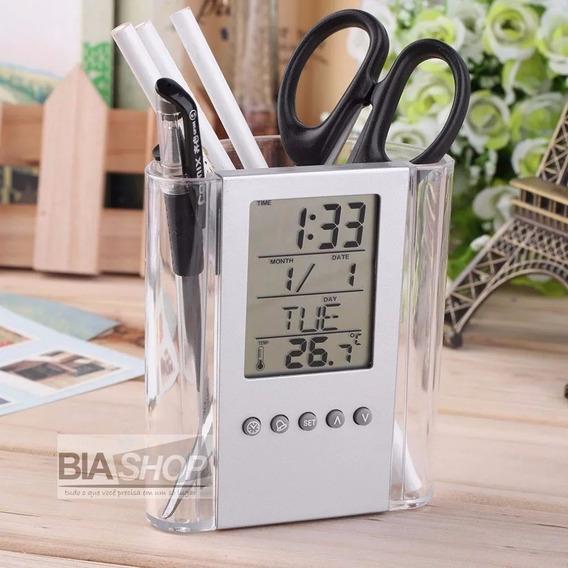 Porta Lapis Caneta, Relógio Digital, Termometro E Calendário