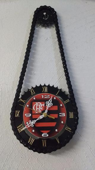 Relógio De Parede Flamengo Artesanal De Relação De Moto
