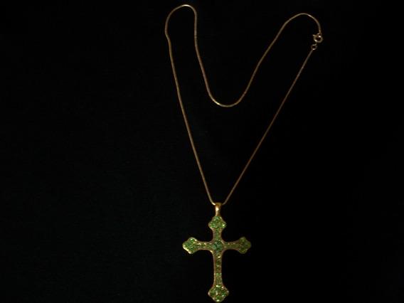 Cordão 44cm 1,1mm Com Pingente Crucifixo Banhado Ouro