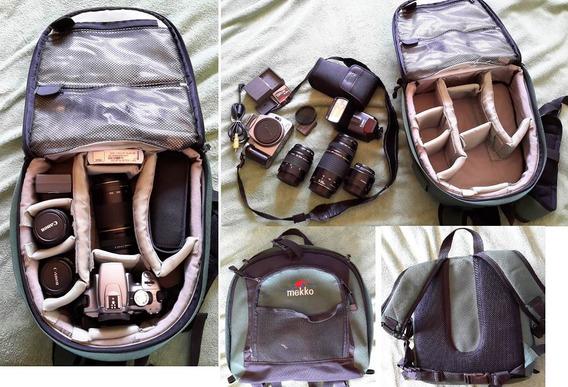 Kit Camera Rebel Xt Com Lente Canon Eos + Flash + Mochila