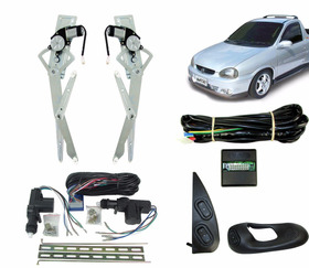 Kit Vidro Elétrico Corsa Pick-up + Trava Universal + Alarme
