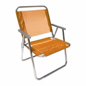 Cadeira Praia Aluminio Varanda Alta Xl 130kg 57cm Largur