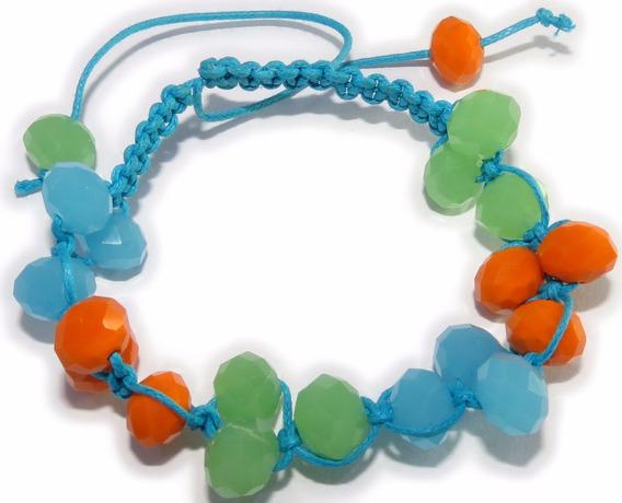 Pulseira Cordão Azul - Pedra Azul, Verde E Laranjado