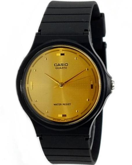 Relogio Casio Mq-76 Resina Fundo Dourado Retrô Mq24 27