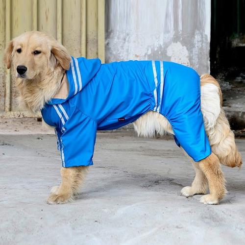 Capa Pet Cão Chuva Capuz  Acessório Reflexiva Cães Azul  7 G
