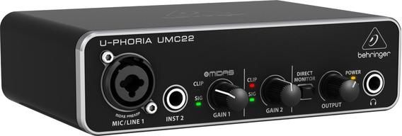 Interface De Áudio Usb Behringer U-phoria Umc22 Original