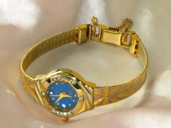 Lindo,raro Relógio Vintage Fem.technos Dourado/cristal,déc90