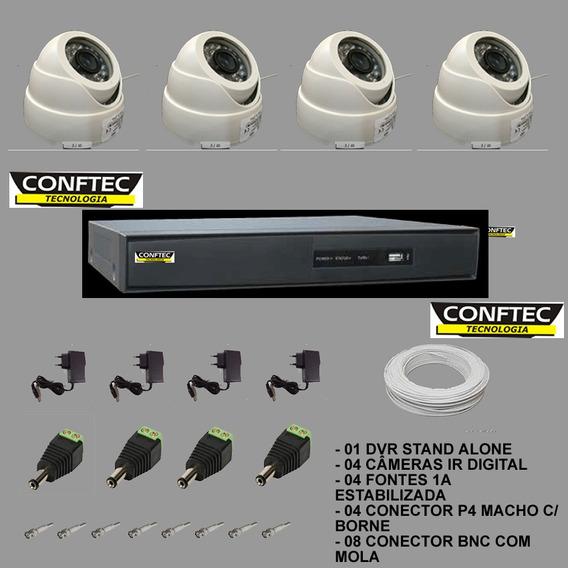 Kit Dvr 4ch+ 4 Câmeras+ 4fontes+ Conector/cabo Aquicompras