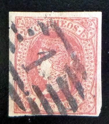 España, Sello Sc 62a 4ct Carmín Isabel 64 Usado Inglés L7634