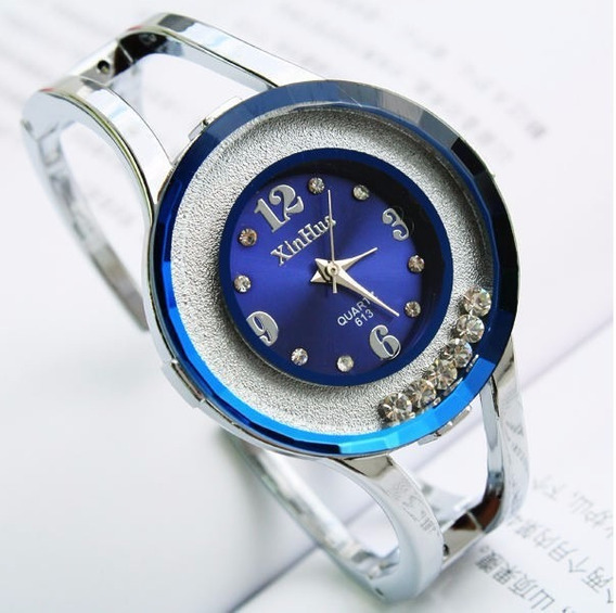 Relogio Feminino Quartzo Barato Bracelete Azul/prata Bd1240