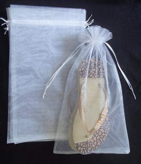 100 Sacos De Organza P/ Chinelo, Saquinhos Brancos 20x35cm