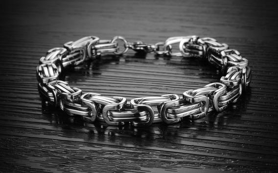 Pulseira Bracelete Quadrada Bizantino Aço Inox Prateada
