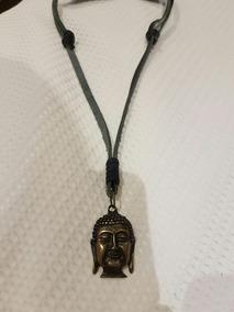 Colar De Couro Ajustável Pingente Buda Zen Om Unissex