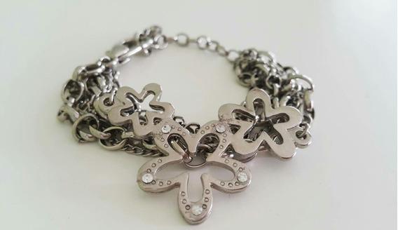 Pulseira Bracelete Flores Com Strass