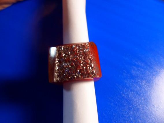 Anel De Drusa Metalica De Pedra Natural Agatha Caramelo Tran