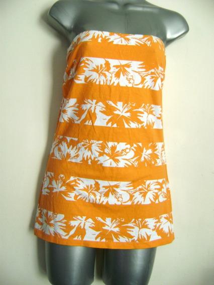 Top O Blusita Strapless Blanco Con Naranja Flores Talla M
