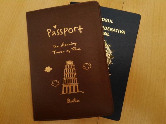 Capa Para Passaporte Vinho Itália Torre Pisa Charmoso Pvc @