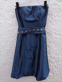 Vestido Tafetá Azul Com Cinto Trabalhado