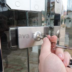 Trava Forte Para Porta De Vidro Abrir Segurança Autoblocável