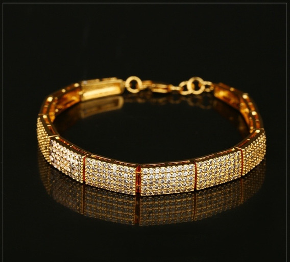 Bracelete Super Luxo Semi Jóia Dubai, Banhada A Ouro 18k E C