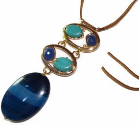 Colar Folheado A Ouro 18k Quartzo Azul / Turquesa