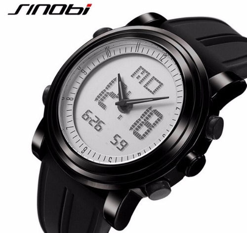 Relógio Unissex Borracha Digital E Analógico Preto Promoção